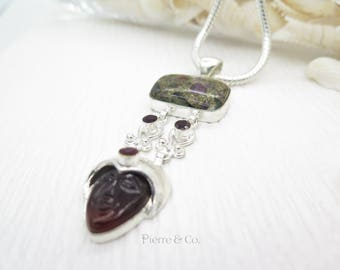 Pyrite Tourmaline Crafted Garnet Sterling Silver Pendant and Chain