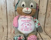 Personalised Bunny Rabbit Pink Embroidered Baby Gift Personalized Teddy Bear Cubbies Boy Girl Christening Birth Baptism Stuffie