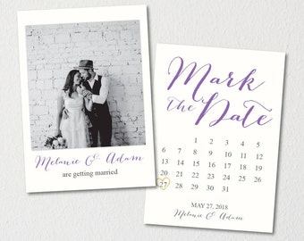 Printed or Printable Photo Save the Date Postcard/Save our Date Announcement Template/Printable Save the Date Calendar/Mark the Date Card