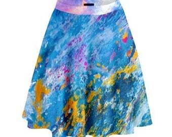 Oil Pastel Metal Blue A-Line Flare Skirt - Spring Fashion - Easter