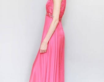 Vintage 1960's Stunning Pink Embellished Maxi Dress