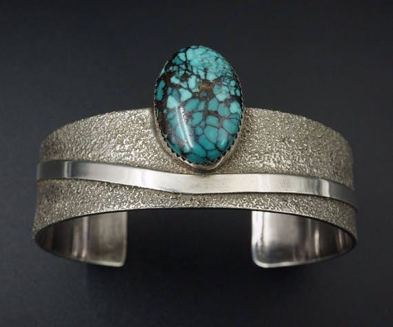 "Navajo Begay Tufa Sterling Silver Spiderweb Turquoise Cuff Bracelet 7"" BS1175"