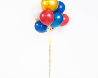 Red, White Blue & Gold Balloon Bouquet / Birthday Balloons / First Birthday Party Decorations / Patriotic Decor Balloons /