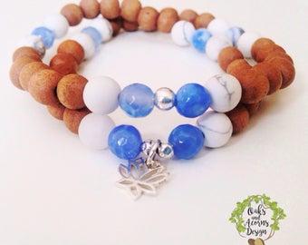 Double wrap mala bracelet - howlite and blue lace agate mala - stacking mala bracelet - layering bracelet - meditation bracelet - yoga gift