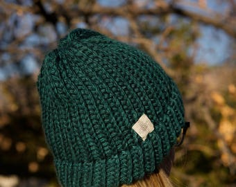 Teal Green Hat, Turquoise Knit Hat, Chunky Knit Hat, Blue Green Knit Hat