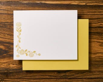 Boho Floral Letterpress Stationery Note Card