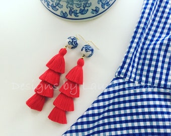 Chinoiserie Tassel Earrings | RED, stacked, tiered, blue and white, gold, Chinese, statement earrings, red white and blue, patriotic