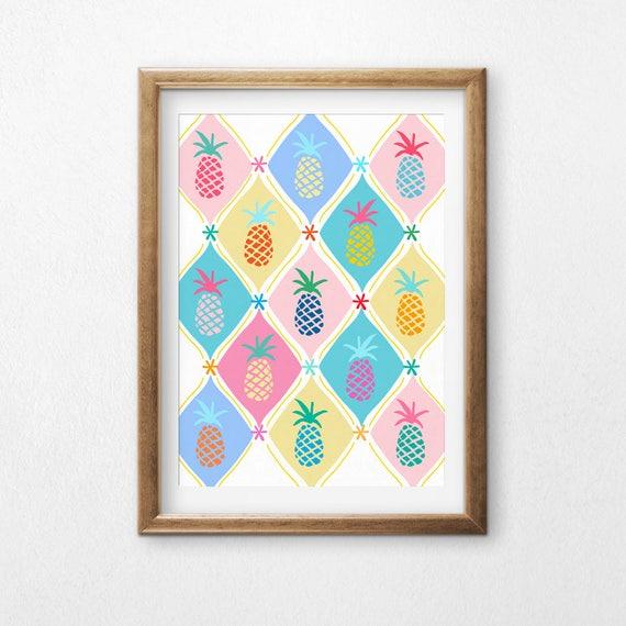 Printable Art, Pineapple Pastel, Pattern, Modern Art, Minimalist Art, Art Printable, Home Decor, Digital Download Print