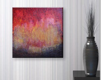Original Abstract Acrylic Painting | Reflections 50x50 cm | red yellow brown