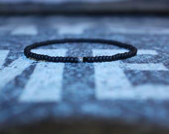Men's Bead Bracelet with Amethyst, Copper, Brown Seed Beads