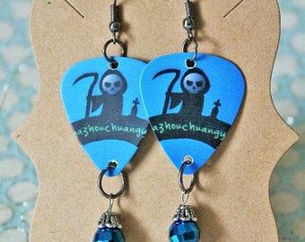 Grim Reaper earrings-Guitar pick earrings-Halloween earrings-Gothic Guitar pick earrings-Blue Grim reaper skull Guitar pick earrings