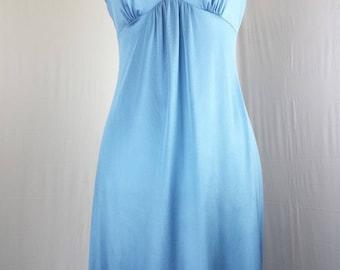 JC Penney Womens Nightgown Nylon Sleeveless Floral sz M Vtg Blue Floral