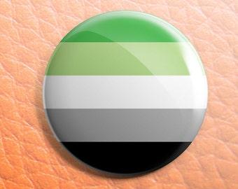 Aromantic pride button pin