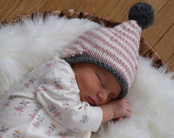 Infant Earflap Hat, Newborn Knit Cap, Baby Girl Hat, Fall Knit Hat for Boy, Coming Home Outfit, Newborn Photo Prop Hat, Baby Boy Winter Hat