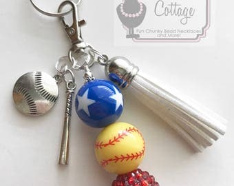 Softball Chunky Bead Keychain/Zipper Pull with tassel and charms