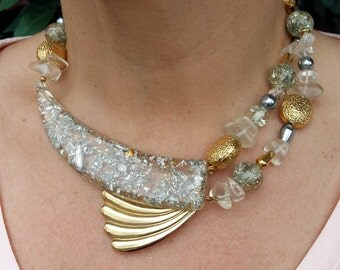 Italian Lucite, statement choker, brass,pearl and semi precious