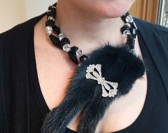 Big and bold necklace Statement choker Mink Tails, real fur, crystal and rhinestones After five glamour, Wow Factor