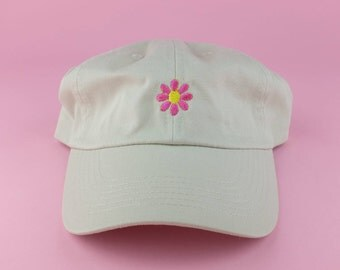 Pink Yellow Flower Hat - Tan Embroidered Dad Hat - Polo Hat - Six Panel Fabric Strap Hat - Cute Sunflower Floral Flower Hat - Gucci New