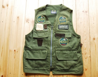 Vintage 1980's Two Crest Barbour International Shooting Hunting Fly Fishing Vest Gilet Waistcoat Small