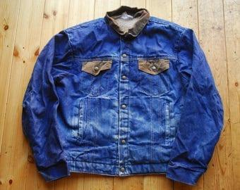 Vintage 70's Distressed Pile Sherpa Lined Denim Chore Work Jacket by Key Imperial Medium 40/42