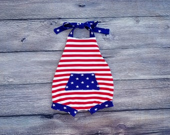 Patriotic Bubble Romper Halter Top Romper 4th of July Memorial Day Labor Day Baby Girl Toddler Outfit Cake Smash Sun Suit American Flag USA