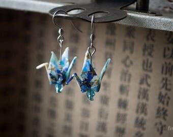 Origami Crane Earrings (blues)
