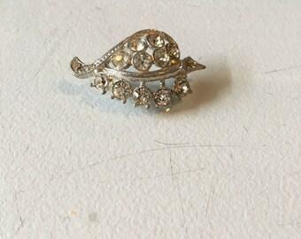Vintage Silver and Diamond Rhinestone Leaf Brooch