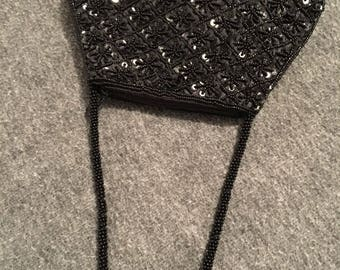 Vintage 1970s Black Sequined and Beaded Evening Bag with Beaded Handle