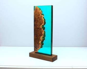 Wood and Resin decor - Turquoise night light design