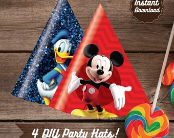 Clubhouse Party Hats, Printable Mickey Mouse Party Decoration, DIY, Mickey Mouse Clubhouse Birthday, Clubhouse Party, Minnie