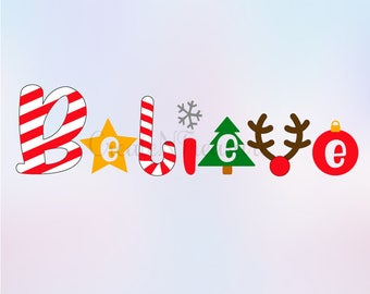 Christmas svg, dxf, Believe svg, Christmas Words svg. Holiday cut files. Cutting files for Silhouette or Cricut  SVG, PNG, DXF.