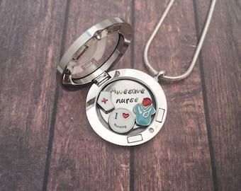Floating locket etsy nurse gift rn rn nurse necklace floating locket nurse locket jewelry gift gift aloadofball Choice Image