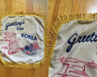 Greetings from Korea Vintage Pillowcase 1940s WWII Era Fringe