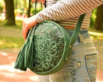 Green leather bag, small bag leather, women's small bag, small purse leather, handmade small purse, mini bag women, gift for her, green bag