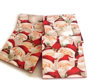 Joyful Santa coasters, waiting for Santa Christmas decoration, set of 4 handmade wooden tiles, festive red housewarming seasonal gift