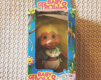 Baby Troll in Box with Yellow Hair and Bib