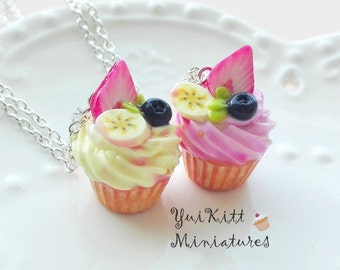 Sweet Cupcake Pendant/ Cupcake Necklace/ Vanilla Raspberry Cupcake Charm/ Strawberry Pink  Cupcake/ Miniature Banana Cupcake