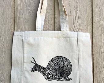Snail tote, medium: sturdy bag, fun, original design, 100% cotton, handmade