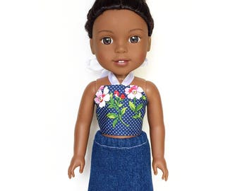 Halter Top, Floral, Navy Blue , 14 inch, 14.5 inch, Fits dolls such as Wellie Wishers Doll Clothes