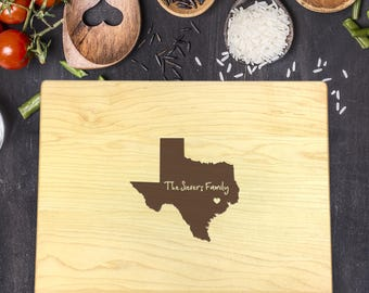 Custom Cutting Board, State, Texas State, Heart Over City, Gift For Her, Gift For Him, Housewarming Gift, Christmas Gift, B-0014
