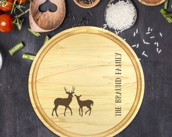 Custom Round Cutting Board, Personalized Round Cutting Board, Wedding Gift, Gift for Couple, Bridal Shower Gift, Christmas, Deer, B-0088