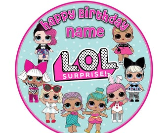 Edible LOL Dolls Birthday ICING or WAFER cake Topper