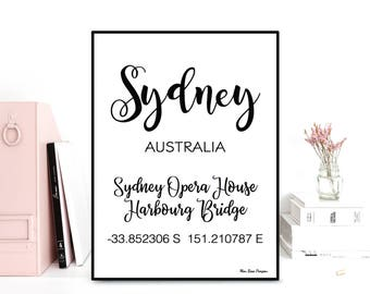 GPS Sydney coordinates, GPS art print, Latitude longitude printable art, Wall decor, Typography quote, Black & white poster, Printable wall