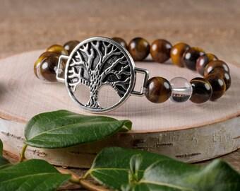 Tree of Life TIGERS EYE & Clear QUARTZ Power Bracelet - Tigers Eye Bracelet, Tigers Eye Bead, Tigers Eye Jewelry, Tree of Life Jewelry E0614