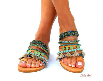 Sesami,  Leather sandals, Colorful Sandals, slip on  sandals, Greek Sandals, Summer shoes, Women's Shoes,, boho sandals, oriental sandal