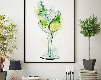 Gin cocktail watercolour painting illustration Home Bar pub retro nightclub interior design drinks wall art poster print ANY SIZE