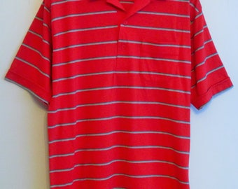 80's The Membership Red Striped Wide Collar Polo