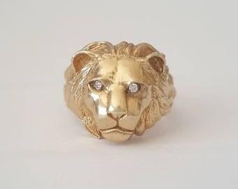 Vintage Solid 10k Gold Lion Head / World of Warcraft / WoW / Alliance / Mens Ring Sz 12 (12.5g)