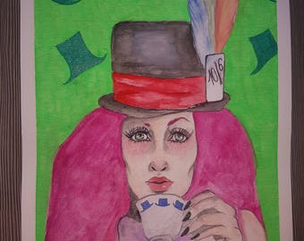 Mad Hatter inspirated Original Watercolor&gelly roll painting