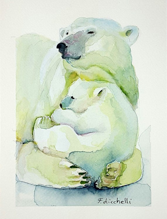 Giclée fine art print, bear mom and her puppy, A5, original artwork, watercolor on paper, gift idea for babies, home office decoration, art.